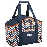 anndora Kühltasche Picknicktasche dunkelblau orange - Isoliertasche Einkaufstasche Thermotasche Picknick