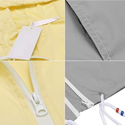 Damen Jacke Windbreaker Übergangsjacke Wasserabweisend Regenmantel Regenjacke mit Kapuze , Farbe - Gelb , Gr. S - 4