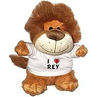 León de peluche (Fetzy) con Amo Rey en la camiseta (nombre de pila
