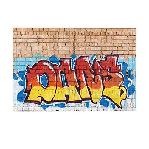 GzHQ Moderne Kunst Dekor Bad Teppiche von Straße Farben Graffiti an der Wand rutschfeste Fußmatte Boden Eingänge Indoor Haustür Matte Badezimmer Teppiche Memory Foam Kids Badematte 15.7x23.37in - Grau-wand-kunst Teal