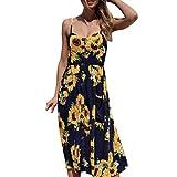 VEMOW Elegante Damen Sommerkleider Floral Bohemian Spaghetti Strap Tasten Unten Solid Off Schulter Sleeveless Princess Swing Midi Kleid mit Taschen(Marine, EU-46/CN-M)
