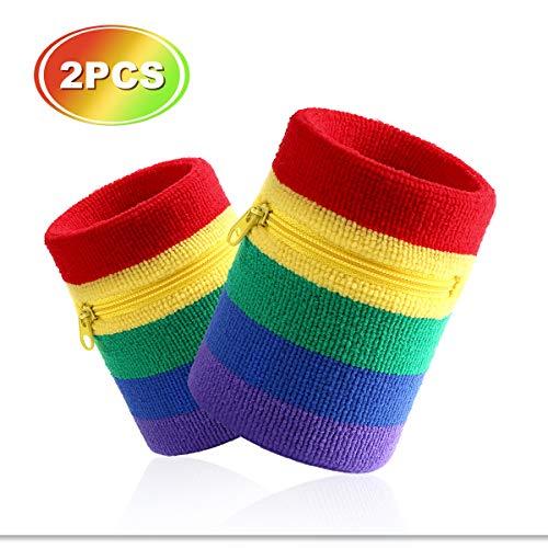 VENI MASEE Sport Dick Solid Color Armband mit Reißverschluss/Wrist Wallet, Preis/Stück (Rainbow(2 Piece))