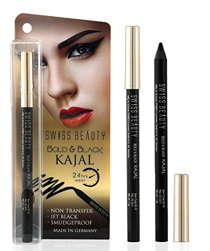Swiss Beauty Bold & Black Kajal ~ 24 Hours Wear Non Transfer Jet Black Smudge Proof ~ Opthalmologically Tested ~ Made In Germany ~ 1.2gm