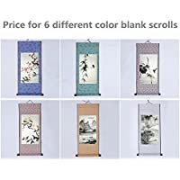 "JZ014 Hmay Blank Mounting Mini Hanging Wall Scroll Set for Kanji, Sumi and Chinese Calligraphy (6pcs/set, 11.8"" * 27.6"")"