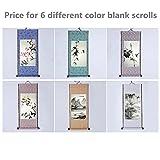 "JZ014 Hmay Blank Mounting Mini Hanging Wall Scroll Set for Kanji, Sumi and Chinese Calligraphy (6pcs/set, 11.8"" x 27.6"")"