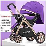 Passeggini leggeri per neonati da sdraiati Sedili sdraiati 2 in 1 seggiolini pieghevoli per bambini Carrello portatile da viaggio, 65 x 48 x 99 cm (colore : Purple)
