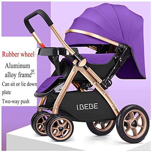 Cochecito de bebé Carros de bebé ligeros para recién nacidos Sentados y tumbados 2 en 1 Cochecitos plegables para niños Carrito portátil para viaje, 65 x 48 x 99 cm (color : Purple)