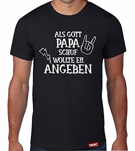 HARIZ  Papa: Original Collection T-Shirt//36 Designs Wählbar//Schwarz, S-XXL//INKL. Urkunde, Top Geschenk #Papa27: Als Gott Papa schuf
