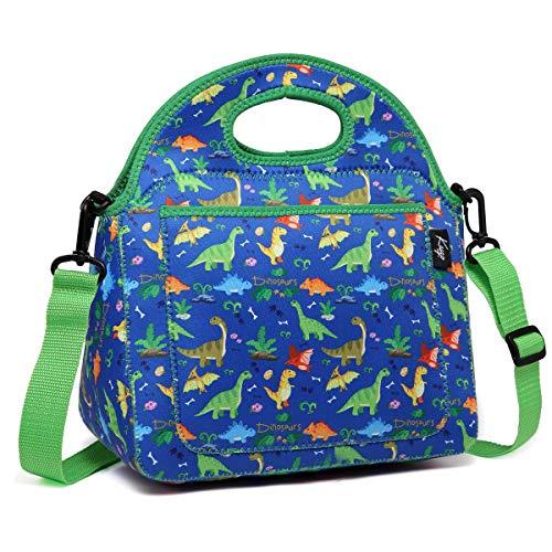 Kasgo Lunchtasche, Neopren Isoliert Dinosaurier Lunch Tasche Kinder Mittagessen Tasche für Junge Kühltasche Lunch Tote mit Fronttasche und Abnehmbarer Verstellbarer Schultergurt (Jungen-mittagessen-tasche Schultergurt)