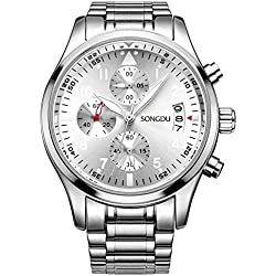 SONGDU Men's Multi-Function Chronograph Quartz Watch With Stainless Steel Bracelet DM-9202-P51AYA--Ideal and Celebrative Gift for Christmas and New Year Sales