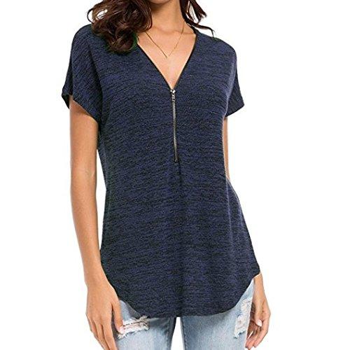 SANFASHION Damen Loose Tops Fitting Reißverschluss V-Ausschnitt Kurzarm Tunika Casual T-Shirt Bluse (Punkt Button-down-shirt Kragen,)