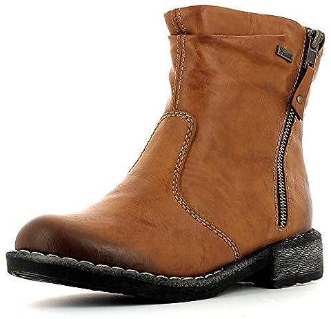 Rieker 74673 Damen Stiefel, Stiefelette, Schlupfstiefel, Boot, Lammwollfutter, Tex-Membrane braun (cayenne / 24), EU 41
