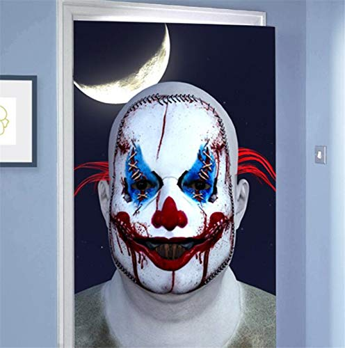 Clown Haunted House Ideen - ZZXXJJ Türaufkleber Ghost Clown Mond Zombie