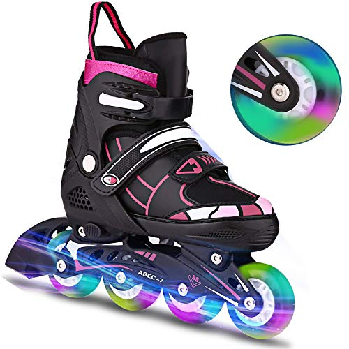Inline-Skates Rollschuhe für Kinder/Jungen/Mädchen Canvas-Design verstellbar mit leuchtenden PU-Rädern Triple Protection Lightweight Inline-Skates (Rosa2, M: 35-38 EU)