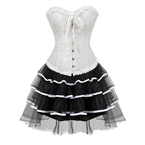 Grebrafan Steampunk Hochzeitskleid Korsett Corsage mit Tüllrock (EUR(36-38) L, Weiß)