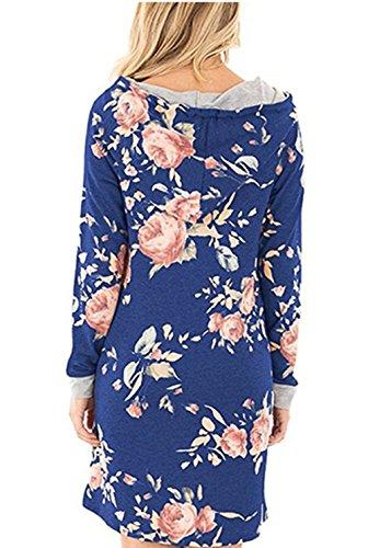 Beunique Femme Sweats à Capuche Imprimé Fleur Robe T-shirt avec Poche Casual Manches Longue Bleu