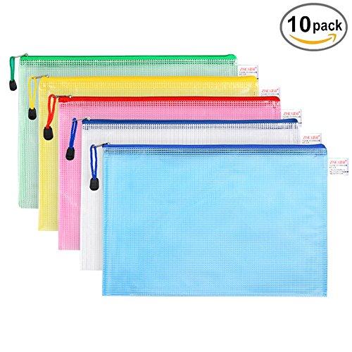 Dokumententasche,A4 Zip Beutel Reissverschluss Mesh Bag Farbig Plastic Zipper Packung von 10 für Cosmetics Büros Supplies Travel Zubehör