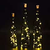 Set Of 3 Wine Bottle Lights, ATTAV Warm White LED Cork Shaped Starry String Lights - 15LED 30inch/75cm Copper Wire Fairy Lights For Bottle DIY, Party, Christmas, Wedding, Dancing