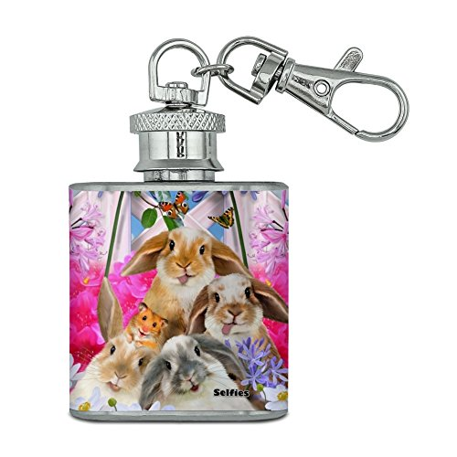Kaninchen Hasen Hamster Backyard Blume Selfie Unzen Edelstahl Mini Fläschchen Schlüssel Kette