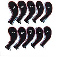 txian Juego de 10palos de golf hierro Headcovers neopreno Golf cabeza Protective Cover Set