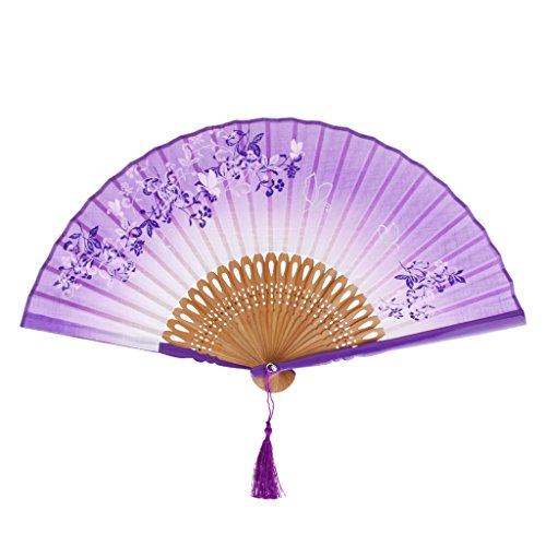 Vintage Flaches Blatt (Vintage-Flachs Blatt Schmetterling Bambushandventilator Dame \ 's Fan Tasche Fan - Lila, medium)