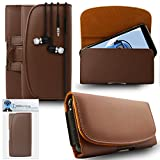 #10: iTALKonline Samsung Galaxy Note 5 Brown PREMIUM PU Leather Horizontal Executive Side Pouch Case Cover Holster with Belt Loop Clip and Magnetic Closure Includes Brown Premium 3.5mm Aluminium High Quality In Ear Stereo Wired Headset Hands Free Headphones with Built in Mic Microphone and On Off Button