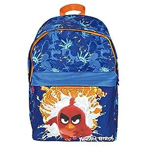 PERLETTI – Angry Birds Mochila Niño con Bolsillo Frontal – Bolso Escolar Estampado Red Chuck Bomb y Terence – Bolsa Infantil para Escuela Guarderia Viaje con Tirantes Regulables – 38x26x16 cm