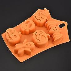aloiness Halloween Fledermäuse Backformen Silikon Multifunctional Kuchenform von Kürbis und Geist für Kuchen Cupcake Muffin Oder Gelee