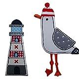TrickyBoo Leuchtturm 4X9cm Möwe 11cm Aufbügler Aufnäher Bügelbild Bügelmotiv Stoff Kleid Patch Applikation Aufbügeln Personalisieren Kind