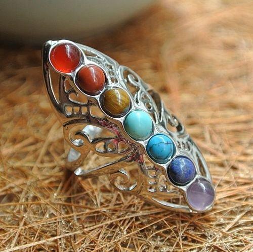 Plata de Ley 925Piedras huecas de curación ajustable 7Chakra anillo pulgar Reiki Gem anillo