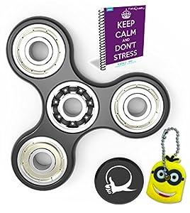 FabQuality Fidget Spinner anti-stress + eBook inclus (Anglais envoyé par eMail) + Minion Cadeaux porte-clés - Diminue le stress et l'anxiété - idéal pour se relaxer et se concentrer (pour enfants et adultes).