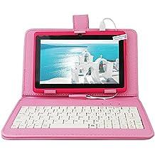 Yuntab Q88 Tablet de 7'' (WiFi, Quad-Core, Android 4.4.2 KitKat , HD 1024x600, 32 GB, 8GB ROM, Doble Cámara, Bluetooth 2.1, con teclado y protecdor de pellejo- Color rosa