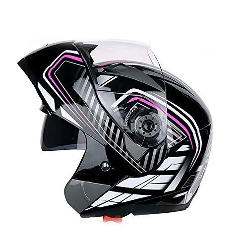 Kilife Full Face Motorradhelm Flip-up Motorradhelm mit Sonnenblende/Sicherheit Lokomotive Roller Helm für Erwachsene Männer und Frauen,M