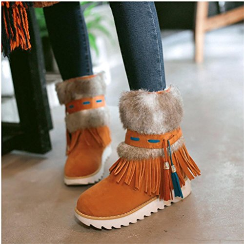 QPYC Scarpe da donna scarpe Stivali in peluche in peluche Stivali in pelle di sabbia rotonda Testa con cappuccio impermeabile Piattaforma di neve spessa sottile Big Code orange