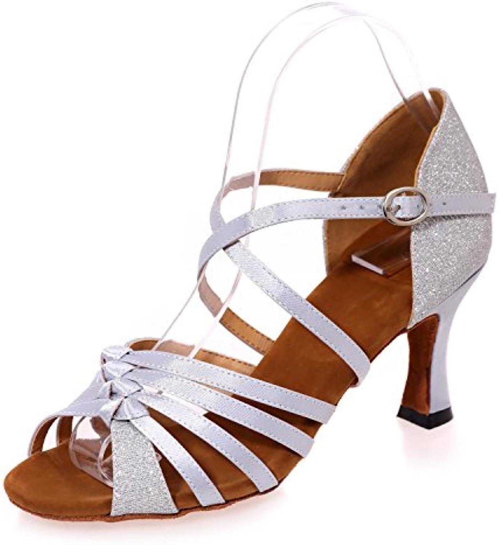Sandali di Cuoio Artificiali Artificiali Artificiali di Scarpe da Ballo Latino delle Donne con I Grandi Giardini MultiColoreeei di 7.5cm   economia    Maschio/Ragazze Scarpa  647272