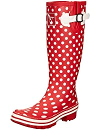 Evercreatures Polka Dot Short, Work Wellingtons femme - rouge - Red/White Polka Dots, 37 EU