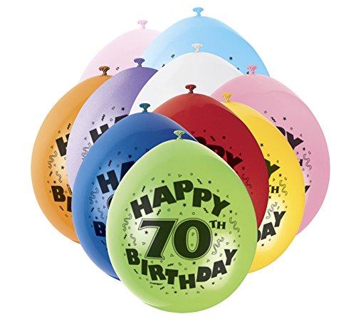 9'Latex surtidos Happy 70th Birthday Balloons, Paquete de 10