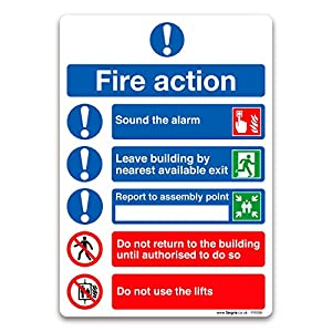 (3SFR099) Fire Action Symbolised Plan Sign – Self-adhesive Vinyl Sticker – Fire Action Safety Stickers (A5-210 x 148mm)