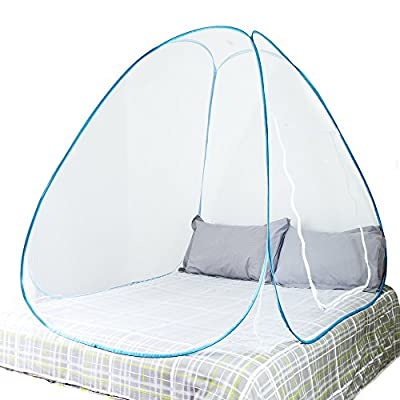 MOSQUITO Travel Net For Bed, Popup Dome, Tent Canopy. Insect Net, Spider Screen, Double Bed for Adults, Children and Babies, Protect Against Zika, Malaria and other Viruses. Executive Sleeping For Travellers, Hikers and Campers, Indoor and Outdoor Use. pr