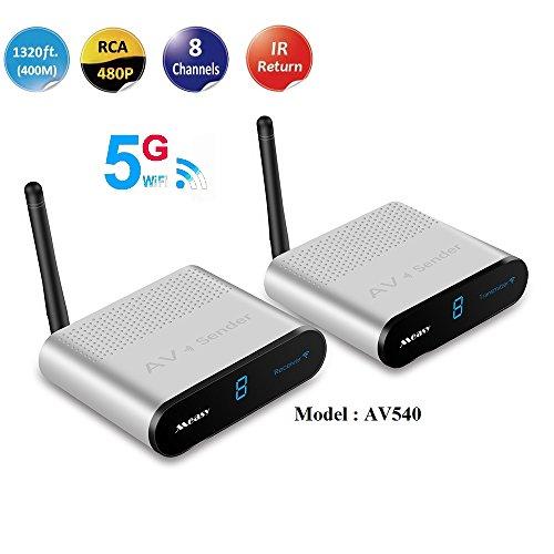 MEASY AV540 5,8 GHz Wireless AV Audio & Video Sender & Empfänger System für DVD/DVR / IPTV/CCTV Kamera/TV, 400m mit IR-Fernbedienung