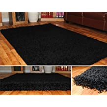 Alfombra de Pelo Color Negro 963 - Grosor de 5cm - 120cm x 170cm - Moderna 100% Fibra Belcron Polipropileno - DISPONIBLE EN 6 TAMAÑOS - By Quality Linen and Towels