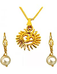 Surat Diamonds Sun Filled Rays Om Gold Plated Religious Pendant And White Shell Pearl Floral Wire Earring Set...