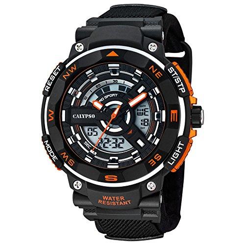 Calypso - Reloj de pulsera cronógrafo para hombre, deportivo, correa de textil (UK5673/1), esfera de cuarzo, color negro y naranja
