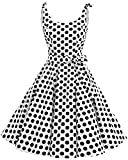 bbonlinedress 1950er Vintage Polka Dots Pinup Retro Rockabilly Kleid Cocktailkleider White Black Big Dot 2XL