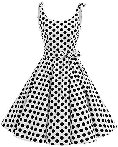 Bbonlinedress Vestidos de 1950 Estampado Vintage Retro Cóctel Rockabilly con Lazo White Black Big Dot XS