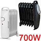 MINI 700W OIL FILLED RADIATOR PORTABLE ELECTRIC THERMOSTAT 6 FIN HEATER COMPACT (BLACK)