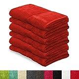 6 tlg. Handtuch Set MAGIC SOFT | 50x100 cm | Handtücher aus Baumwolle in Premium-Qualität | ÖKO TEX Standard 100 | für Frauen, Männer und Kinder | viele Farben | rot