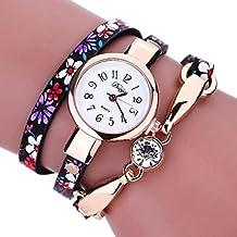 vovotrade La mujer Diamond envolver alrededor de Leatheroid muñeca reloj de cuarzo (Negro)