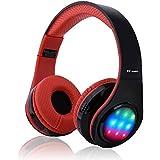 Ecandy Bluetooth para auriculares con 3 Modo Luz Led estéreo de música plegable Sobre-oído sonido de alta fidelidad, construido en llamadas inalámbricas micrófono de manos libres para Iphone 6S 6S, 6S Plus de Samsung, Android smartphone, tablet PC, MAC y Portátil.
