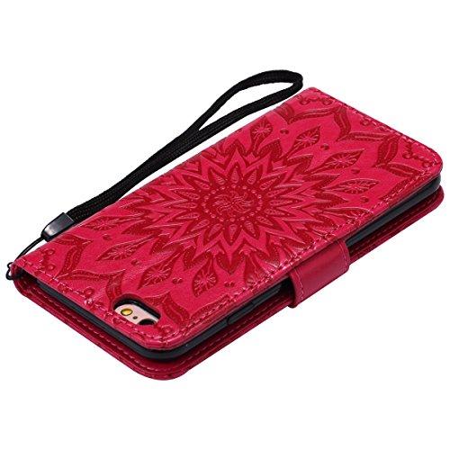 Custodia per Apple iPhone 6, ISAKEN iPhone 6S Flip Cover, 4.7 inch Custodia con Strap, Elegante Sbalzato Embossed Design in Pelle Sintetica Ecopelle PU Case Cover Protettiva Flip Portafoglio Case Cove girasole: rossa